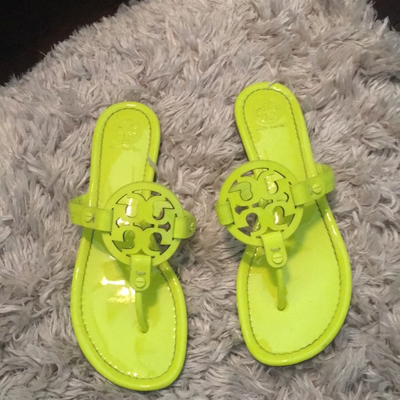 39554c666 Authentic neon yellow Tory Burch Miller sandals. M 5b5a1cd4f41452b7456f61fc